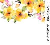 yellow flowers. watercolor... | Shutterstock . vector #1060355210