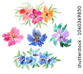 watercolor flowers set. floral... | Shutterstock . vector #1060369850