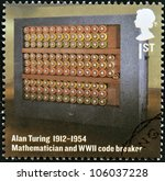 Small photo of UNITED KINGDOM - CIRCA 2012: A stamp printed in Great Britain shows mathematician and WWII code breaker, Alan Turing, circa 2012