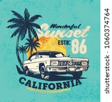 vintage car. sunset beach.... | Shutterstock .eps vector #1060374764
