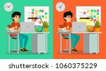 stressed out man vector. young... | Shutterstock .eps vector #1060375229