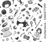 hand drawn seamless pattern... | Shutterstock .eps vector #1060377299