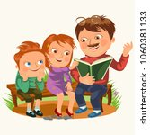 dad read book for childrens in... | Shutterstock . vector #1060381133