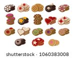 flat vector set of tasty fresh... | Shutterstock .eps vector #1060383008