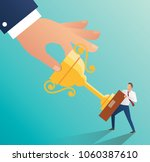big hand holding trophy with... | Shutterstock .eps vector #1060387610