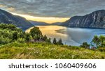 aerial view over storfjord from ... | Shutterstock . vector #1060409606