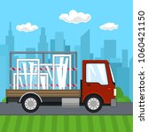 small truck with windows on the ... | Shutterstock .eps vector #1060421150