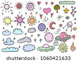 hand drawing. set of clouds ... | Shutterstock .eps vector #1060421633