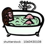 woman in a bathtub | Shutterstock .eps vector #1060430108