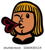 woman giving a kiss and winking | Shutterstock .eps vector #1060430114