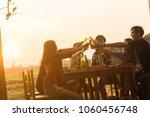 group of 6 teenager have dinner ... | Shutterstock . vector #1060456748