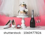 pair of shoes  wedding cake and ... | Shutterstock . vector #1060477826