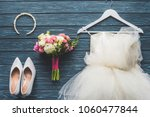 top view of wedding bouquet and ... | Shutterstock . vector #1060477844