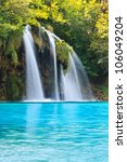 Plitvice Park Waterfall In...