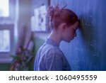 teenager girl in math class... | Shutterstock . vector #1060495559