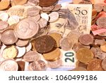 old gold and silver coins and... | Shutterstock . vector #1060499186
