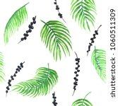 watercolor pattern of acai palm ... | Shutterstock . vector #1060511309