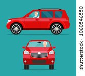 red car two angle set. car with ... | Shutterstock .eps vector #1060546550