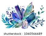 watercolor blue sapphire ... | Shutterstock . vector #1060566689
