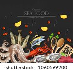 tuna fish  caviar  squid ... | Shutterstock .eps vector #1060569200