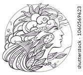 woman with bird. vector... | Shutterstock .eps vector #1060569623