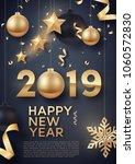 gold and black christmas balls... | Shutterstock .eps vector #1060572830