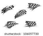 Racing flags in tribal style for tattoo design, such logo. Jpeg version also available in gallery - stock vector