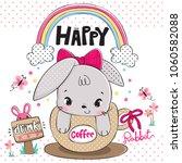 funny cartoon baby rabbit... | Shutterstock .eps vector #1060582088