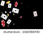 playing cards and chips falling ... | Shutterstock .eps vector #1060586930