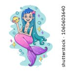 mermaid with blue hair and... | Shutterstock .eps vector #1060603640
