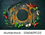 colourful herbs and spices on... | Shutterstock . vector #1060609133