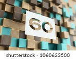 white paper cut number 60 on... | Shutterstock . vector #1060623500