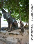 Small photo of Songkla, Thailand - MArch 30, 2018. Rat and cat statues that is a symbol of Samila Beach. One of the most famous and famous tourist attraction of Songkhla.
