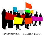 people of with large flags on... | Shutterstock .eps vector #1060641170