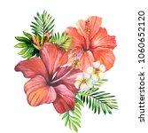 watercolor bouqyet of red... | Shutterstock . vector #1060652120