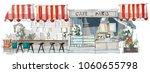 contemporary interior cafe... | Shutterstock .eps vector #1060655798