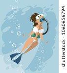 vector illustration of a scuba... | Shutterstock .eps vector #1060656794