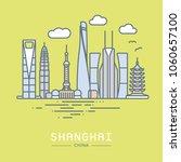 line icon style shanghai city... | Shutterstock .eps vector #1060657100
