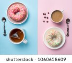 top view cup of coffee and tea  ... | Shutterstock . vector #1060658609