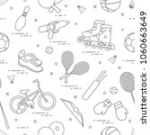 pattern with bicycle  rollers ... | Shutterstock .eps vector #1060663649