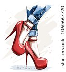 hand drawn beautiful red shoes... | Shutterstock .eps vector #1060667720