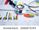 stethoscope  charts and graphs... | Shutterstock . vector #1060672193