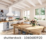 3d rendering. retro kitchen in... | Shutterstock . vector #1060680920