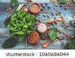 table of vegetarian food | Shutterstock . vector #1060686044