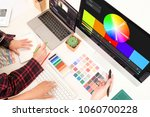 top view graphic designer... | Shutterstock . vector #1060700228