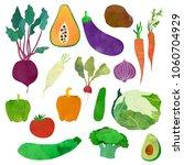 vegetables. cartoon clip art... | Shutterstock .eps vector #1060704929