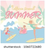 summer poster with relaxing... | Shutterstock .eps vector #1060722680