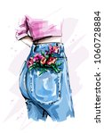stylish high waist back jeans.... | Shutterstock .eps vector #1060728884