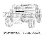 combat car blueprint. 3d... | Shutterstock . vector #1060730636