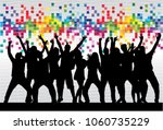 dancing people silhouettes.... | Shutterstock .eps vector #1060735229